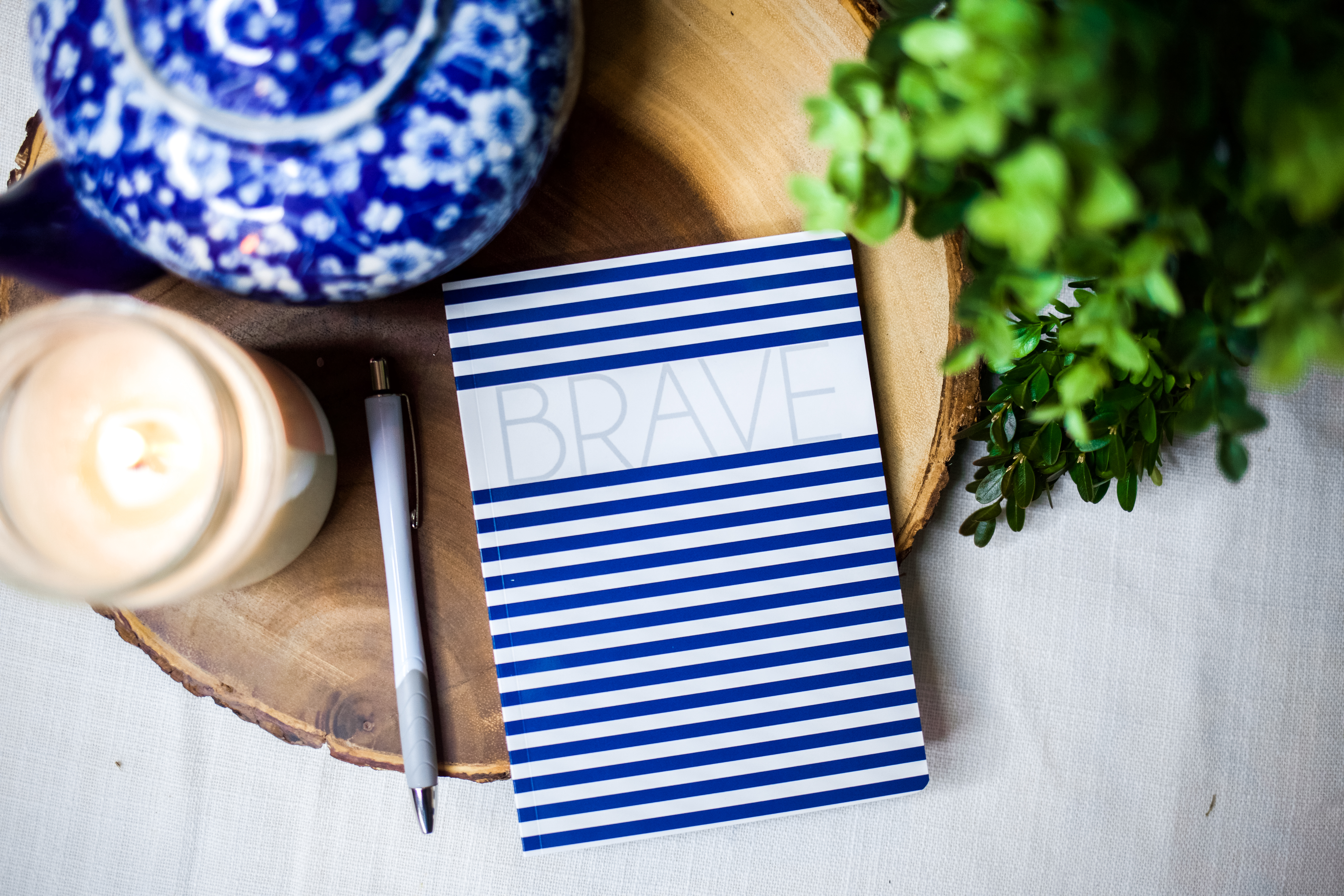 BRAVE Navy Striped Notebook | BeckyLMcCoy.com/shop