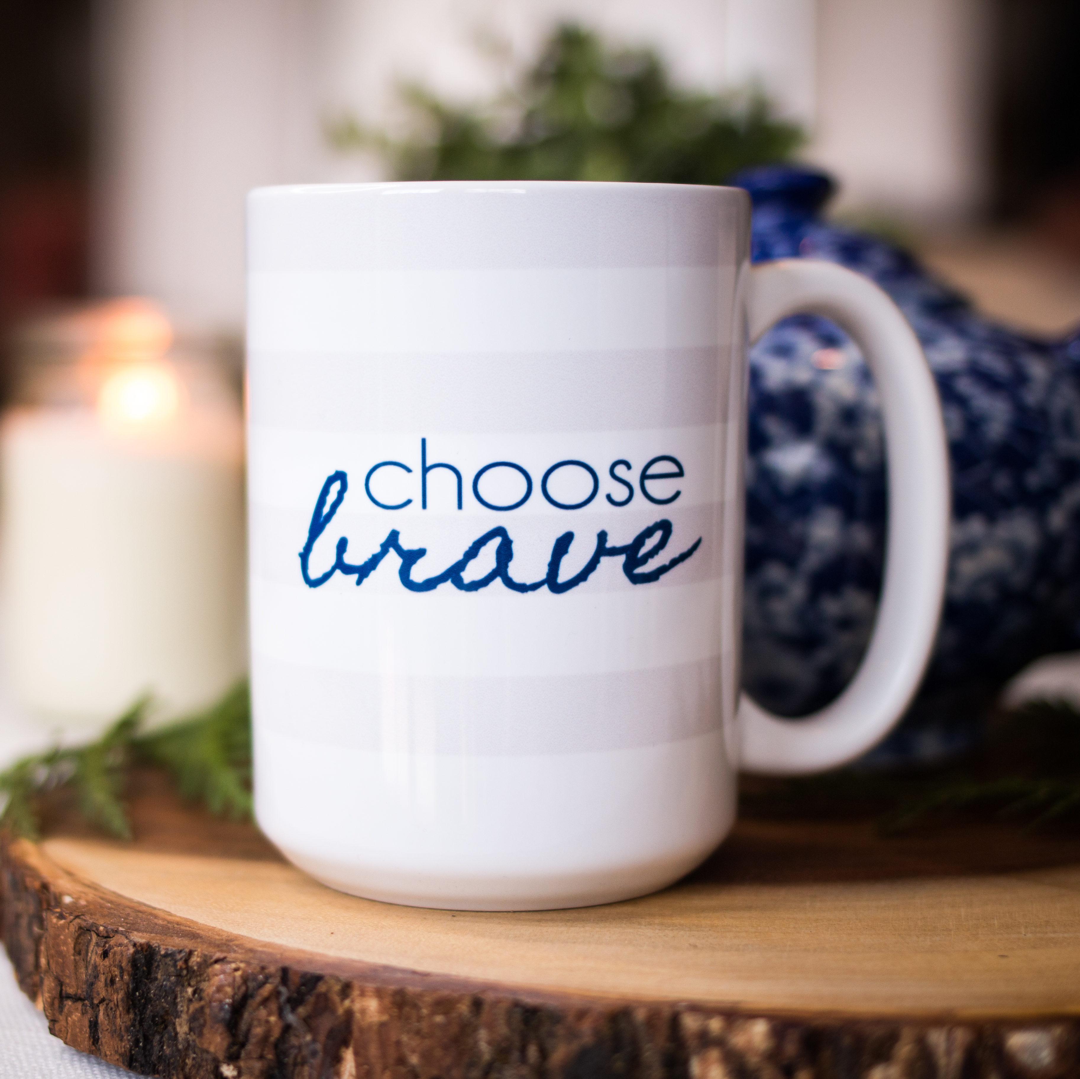 CHOOSE BRAVE Rugby Stripe Mug | BeckyLMcCoy.com/shop