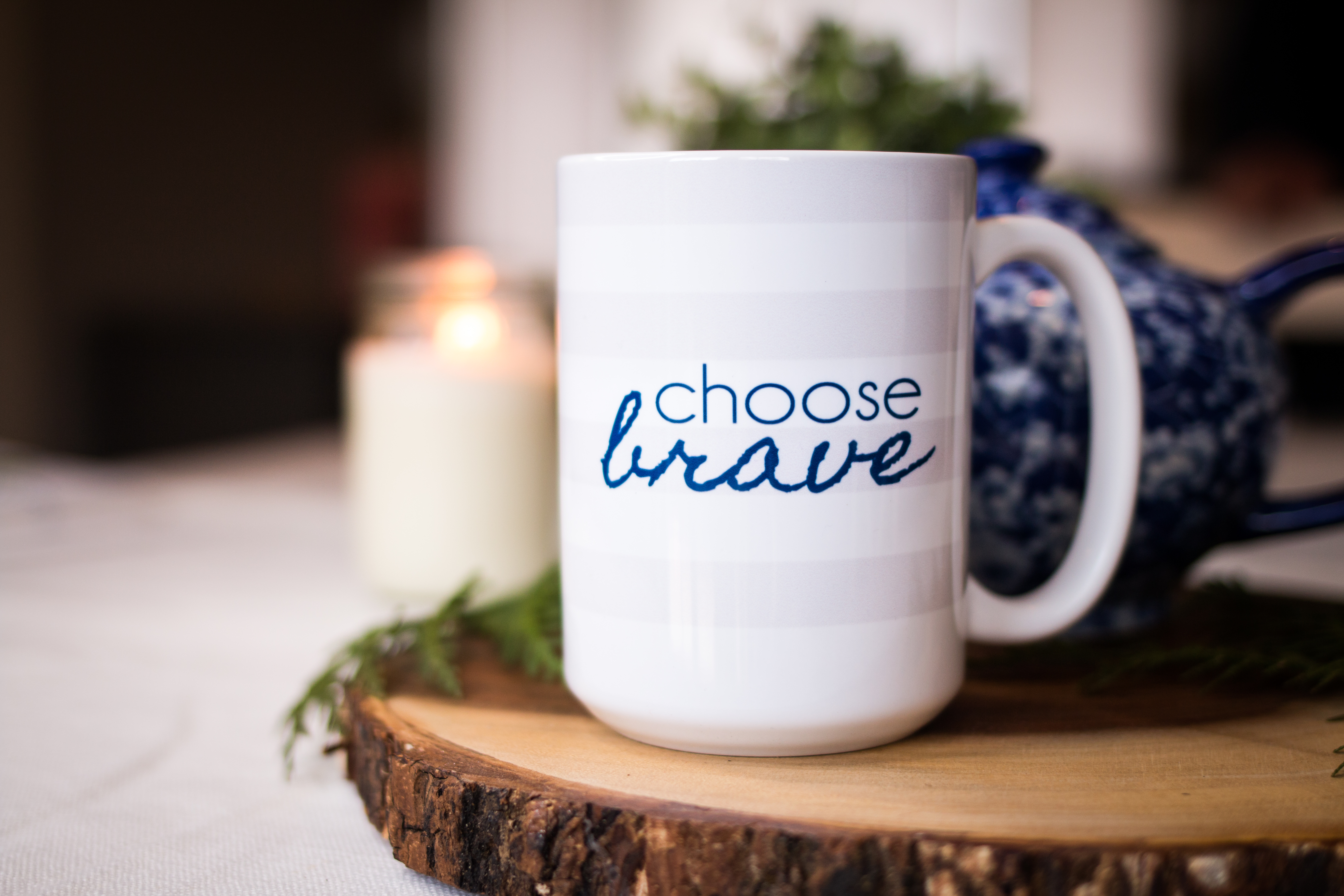 CHOOSE BRAVE Rugby Stripe Mug | BeckyLMcCoy.com/shop
